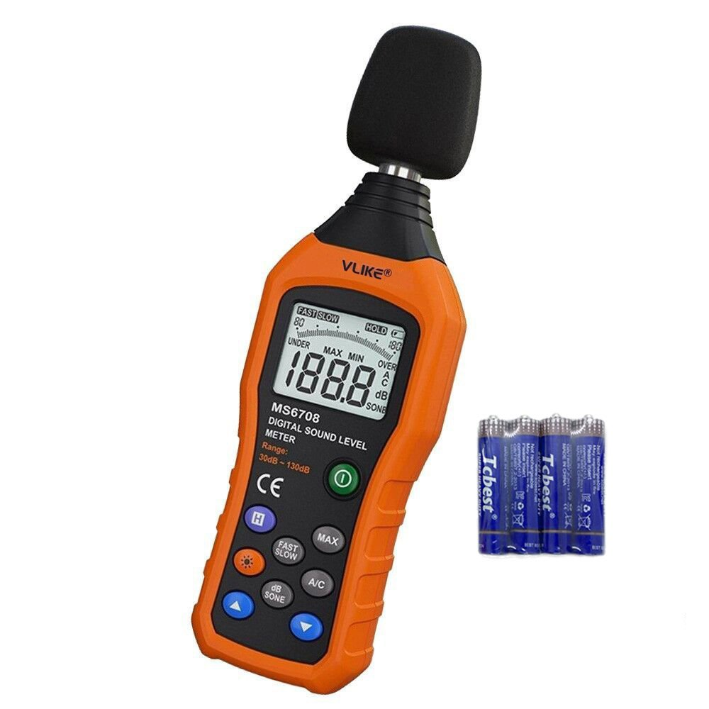 VLIKE LCD Digital Audio Decibel Meter Sound Level Meter Noise Level Meter Sound Monitor dB Meter Noise Measurement Measuring 30 dB to 130 dB MAX Data Hold Function A/C Mode by VLIKE