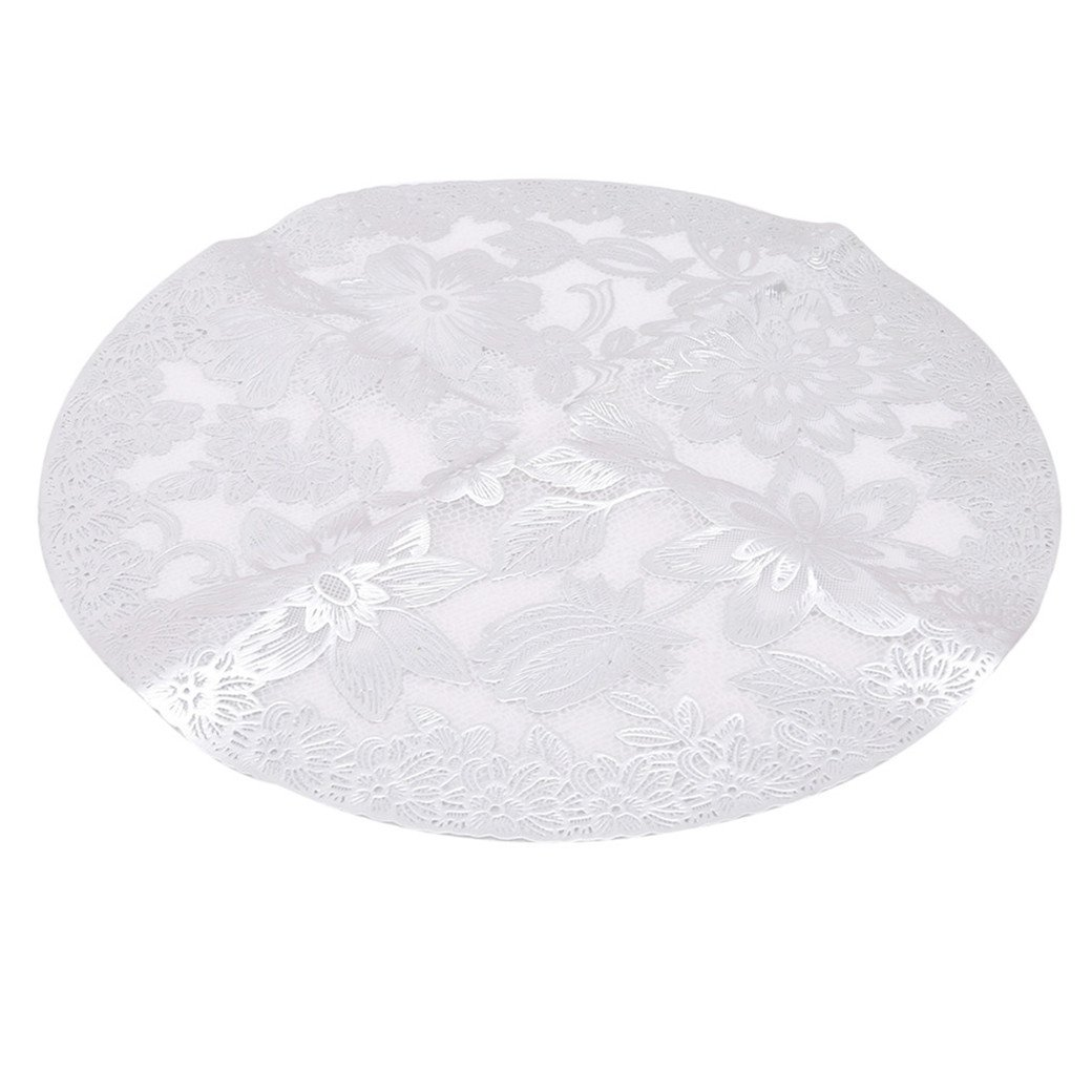 Rurah Hot Stamping PVC Table Mat Lace Table Mat Round Tablecloth Mat,Silver