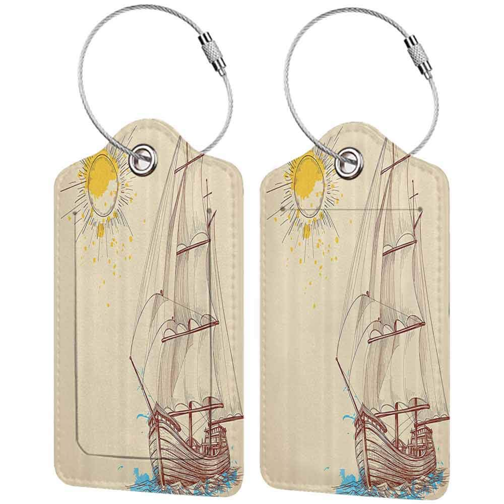 Decorative luggage tag Nautical Decor Nautical Pattern Of A Sailing Boat In Windy Sea With Splashed Sun Cruising Galleon Suitable for travel Cream Brown W2.7 x L4.6