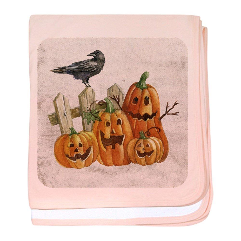 Royal Lion Baby Blanket Cute Halloween Pumpkins and Crow - Petal Pink
