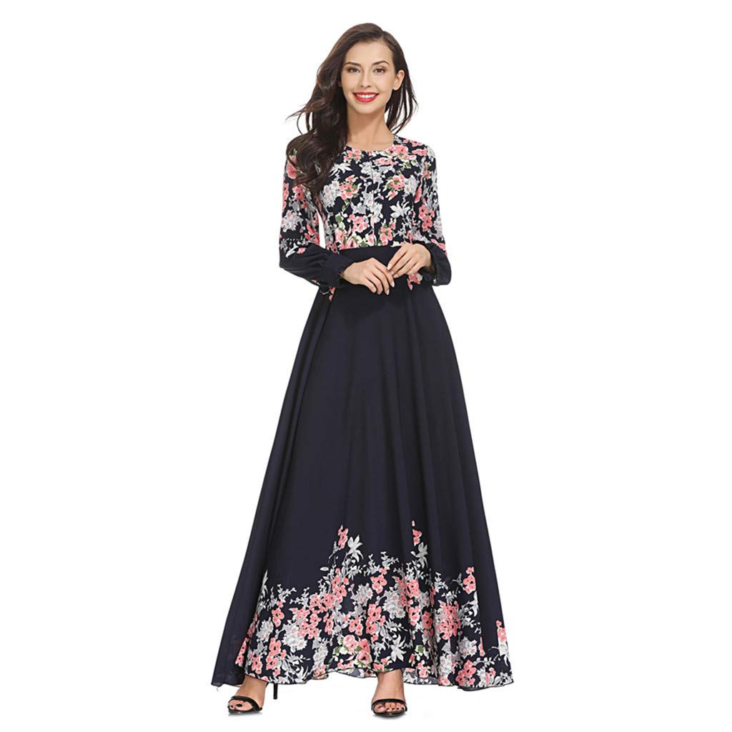 BAOHOKE Muslim Elegant Floral Printed Long Sleeve Pleated Maxi Dresses,Women's High Waist Spring Big Swing Dress(Navy,XXL)