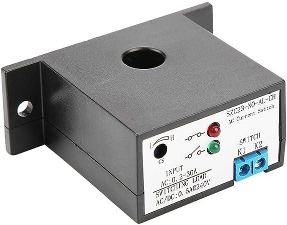 Hyuduo Interruttore di Corrente normalmente Aperto Isolamento Regolabile Sensore di monitoraggio Corrente AC Interruttore Protezione rilevamento Corrente AC 0,2-30A SZC23-NO-AL-CH
