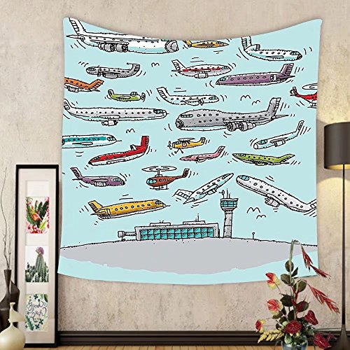 Gzhihine Custom tapestry Airplane Decor Tapestry Planes Fying in Air Aviation Love Airport Helicopters and Jets Cartoon for Bedroom Living Room Dorm 60 W X 40 L - Airport Outlet Chicago