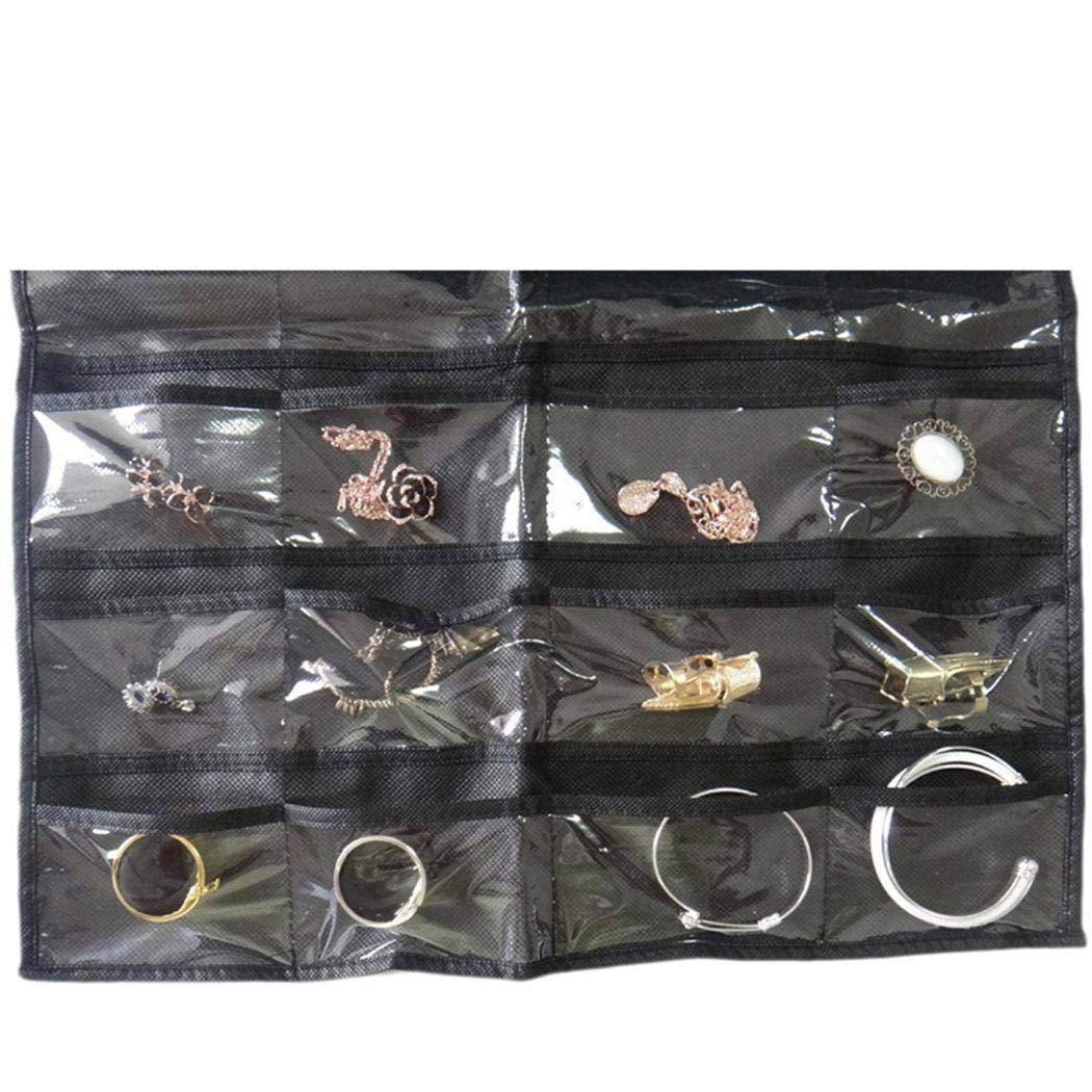 Mimanou Multifonction 32 grilles double face bijoux sac de rangement pour pendaison de petits objets Organisateurs /à poches pour lit