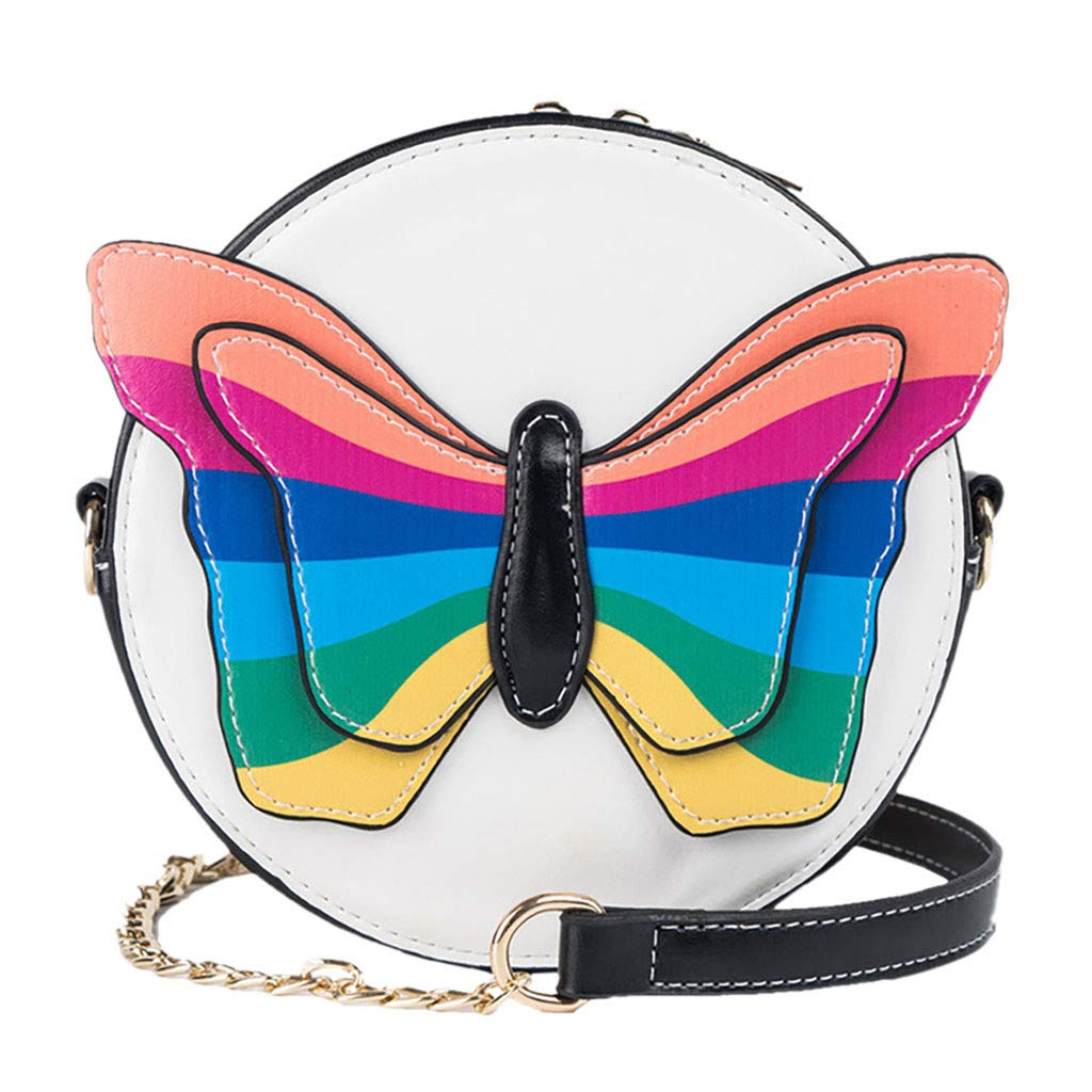 Fashionhe Messenger Bag Women Butterfly Hit Color Shoulder Bag Chain Bag Cosmetic Bag Handbag Crossbody Bag(Black)