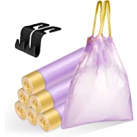 LASMEX Drawstring Trash Bags with Headrest Hooks, 1.2 Gallon Small Garbage Bags Thick Desk Wastebasket Bin Liners PE…