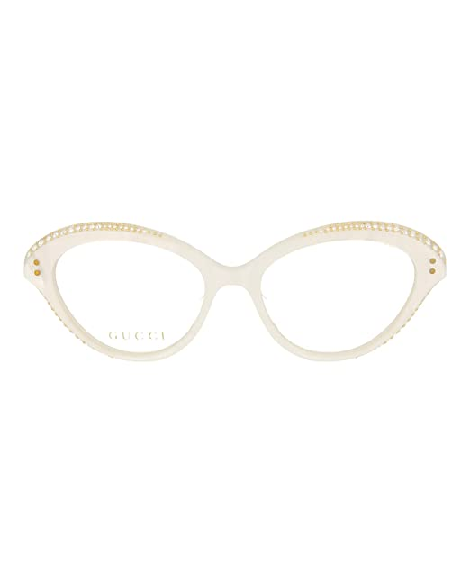 26018ec938b9 Gucci GG 0215O 003 White Plastic Cat-Eye Eyeglasses 51mm  Amazon.ca   Clothing   Accessories
