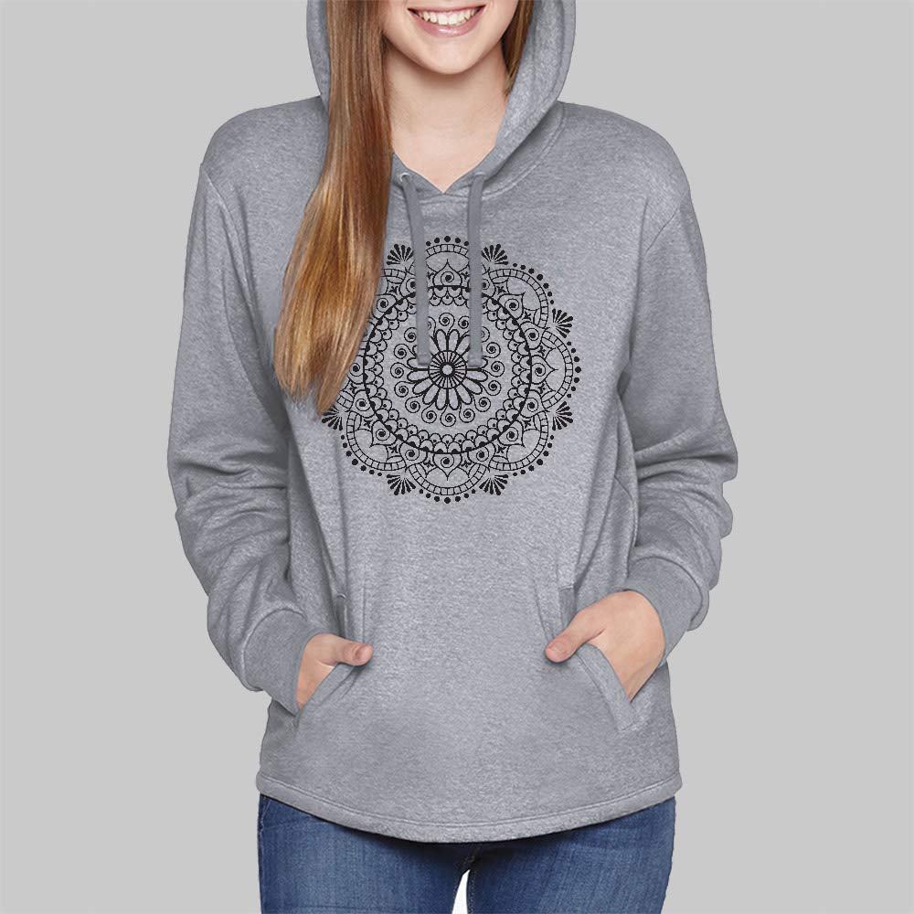 Womens Hoodies // Henna Mandala Pullover Hooded Sweatshirt