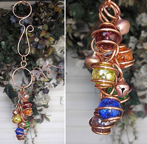 Dragonfly Wind Chimes Glass Copper Garden Art Windchime Rainbow Crackle