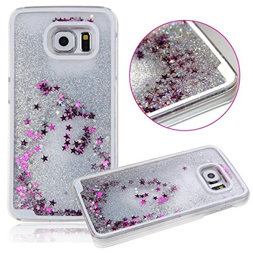 Samsung Galaxy S8+ Waterfall Liquid 3D Glitter Quicksand Cascade Dazzling Stars Hearts Movable Falling Flowing S8 Plus Case [Hard Cover] Phone Accessories By Tech Express (Silver) (Duck Dynasty Car Accessories)