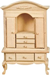 Melody Jane Dollhouse Queen Ann Cabinet Unfinished Bare Wood Miniature Furniture