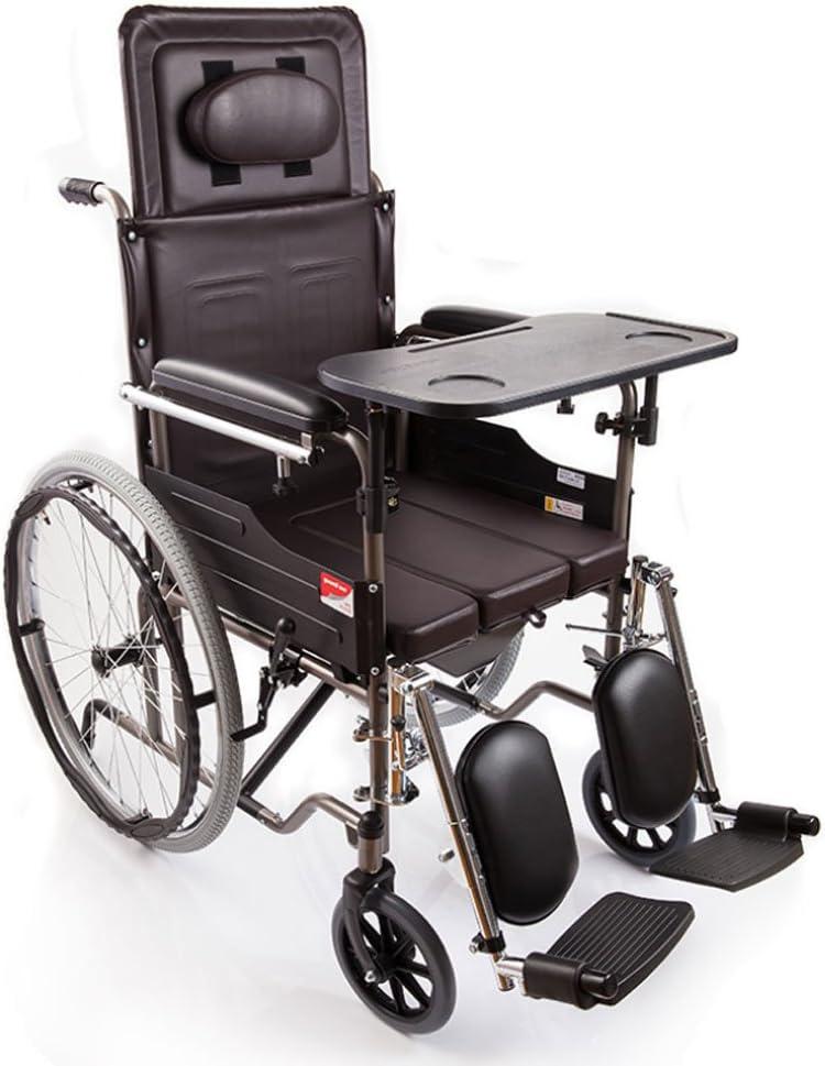 LiuBin- Silla de Ruedas Tipo Plegable de la Mitad-Mentira, con los pies ortopédicos, con la cómoda