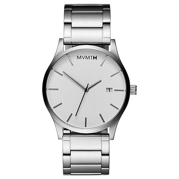 Mvmt - reloj de hombres, blanco/plata, correa de acero inoxidable cepillado MC01WS: Amazon.es: Relojes