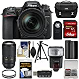 Nikon D7500 Wi-Fi 4K Digital SLR Camera & 16-80mm VR DX 70-300mm AF-P VR Lens + 64GB Card + Battery + Case + Tripod + Flash + Filters Kit