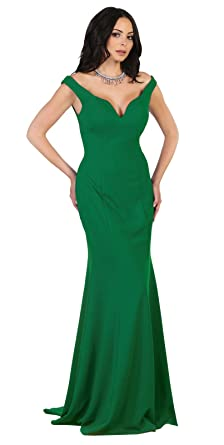 May Queen MQ1489 Simple Off The Shoulder Prom Evening Gown (4, Emerald Green)