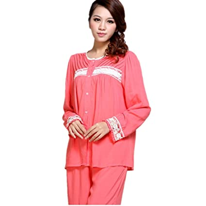 DMMSS Ladies White Pajamas Set Spring And Autumn Long - Sleeved Lace Bathrobes 2 - Piece