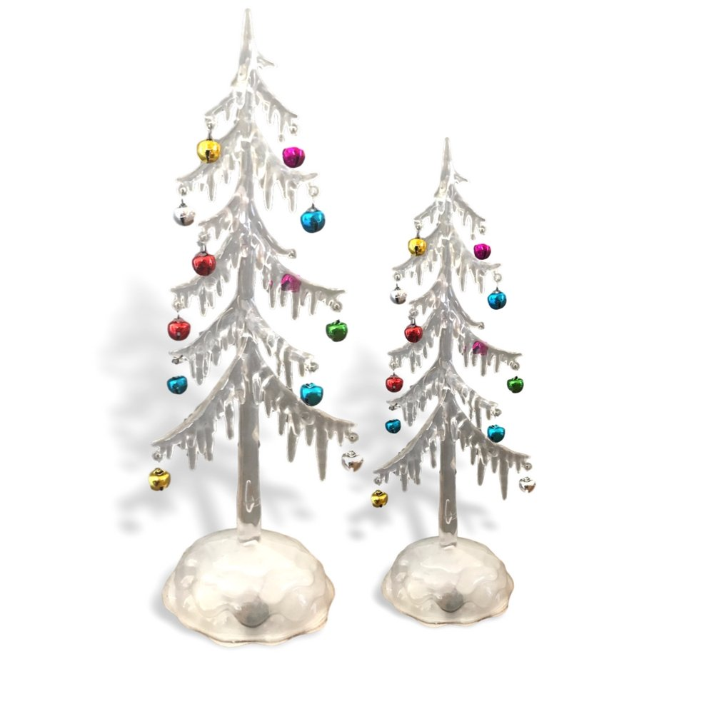 Banberry Designs Light Up Acrylic Trees - Set of 2 Assorted Sizes LED Christmas Trees - Miniature Jingle Bell Ornaments Attached - Christmas Table-Top Display