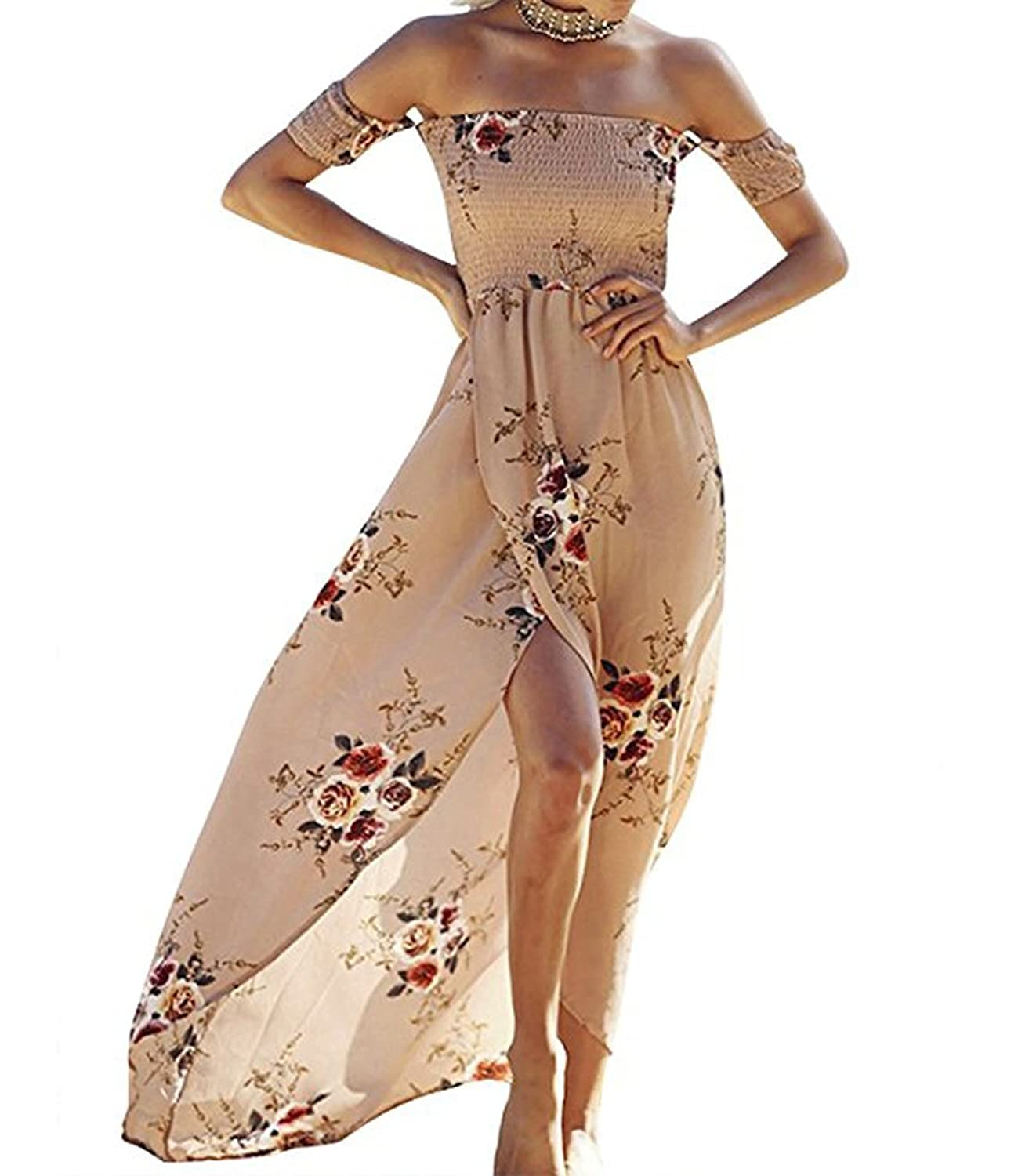 7fc2bd4d83a1 Material:Polyester +Chiffon Season:Spring ,Summer Print:Floral Flower Print  Neckline:Off the shoulder. Dress length:Long maxi length