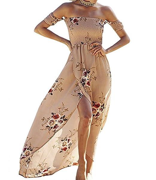 61c4c81323af4 SVALIY Women Floral Off The Shoulder Split Chiffon Maxi Beach Dresses  Wedding Party