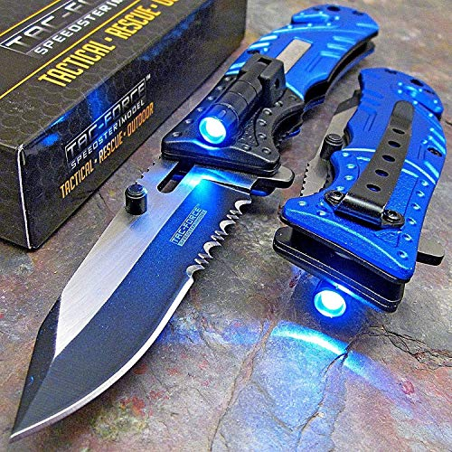 TAC Force Blue Police Assisted Open LED Tactical Rescue Pocket Knife (Original)
