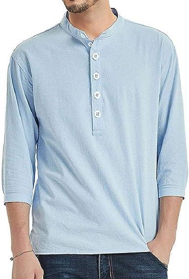 EUFANCE Camisa Hombre Blusa Suelta Casual Transpirable Top de Manga 3/4 Camisas Sin Cuello de Color Sólido Blusas: Amazon.es: Ropa y accesorios