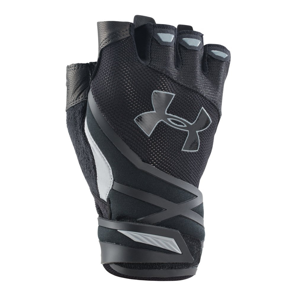 Under Armour Men's Resistor Half-Finger Training Gloves, Black /Steel, Small/Medium