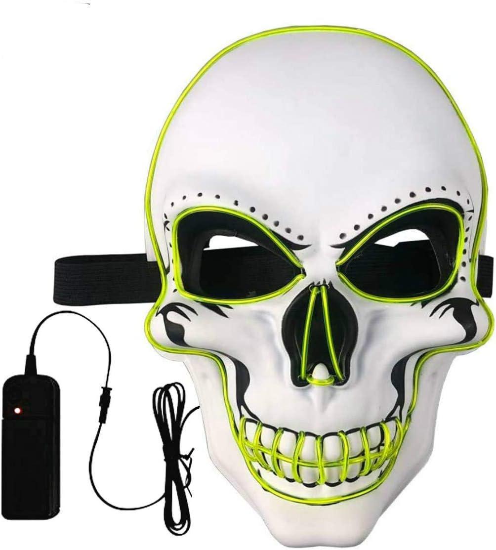 Máscara LED Halloween,LED Máscaras Carnaval con 3 Modos de Iluminación,Luminosa Craneo Esqueleto Mascaras, para Navidad, Halloween, Grimace Festival, Fiesta Show y Cosplay