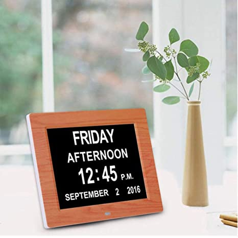 """8"""" Marrón Reloj Digital de día Calendario con Gran Tiempo de claridad Día y Fecha"""
