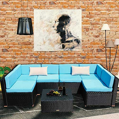 Yardeen 7 PCS Sectional Patio Furniture Set Sofa Waterproof Rattan Wicker Indoor and Outdoor Party Kit with Tea Table Waist Pillow