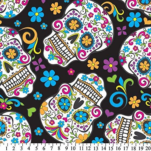 Sugar Skulls Black Anti-Pill Fleece Fabric By The Yard