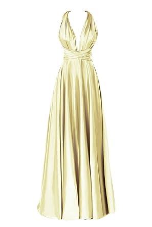 193a7537651 Dora Bridal Women s Deep V Backless Floor Length Formal Evening Dress US2  Daffodil