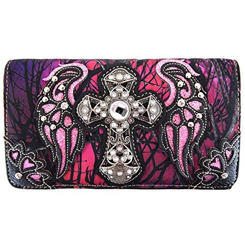 - Western Camouflage Cross Wings Country Purse Single Shoulder Bags Clutch Women Blocking Wristlet Wallet (Purple)