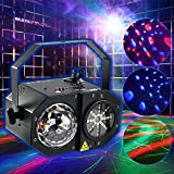 MFL Gobos Party Professional DJ Lights LED RGBW Laser Light , RG Laser, Strobe and Mirror Ball Decoration Projector with IR Remote Control Black