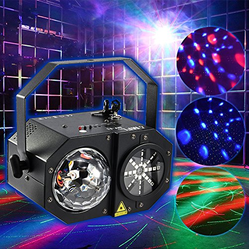 MFL Party Professional DJ Lights LED RGBW Laser Light , RG Laser, Strobe and Mirror Ball Decoration Projector with Gobo Remote Control Black