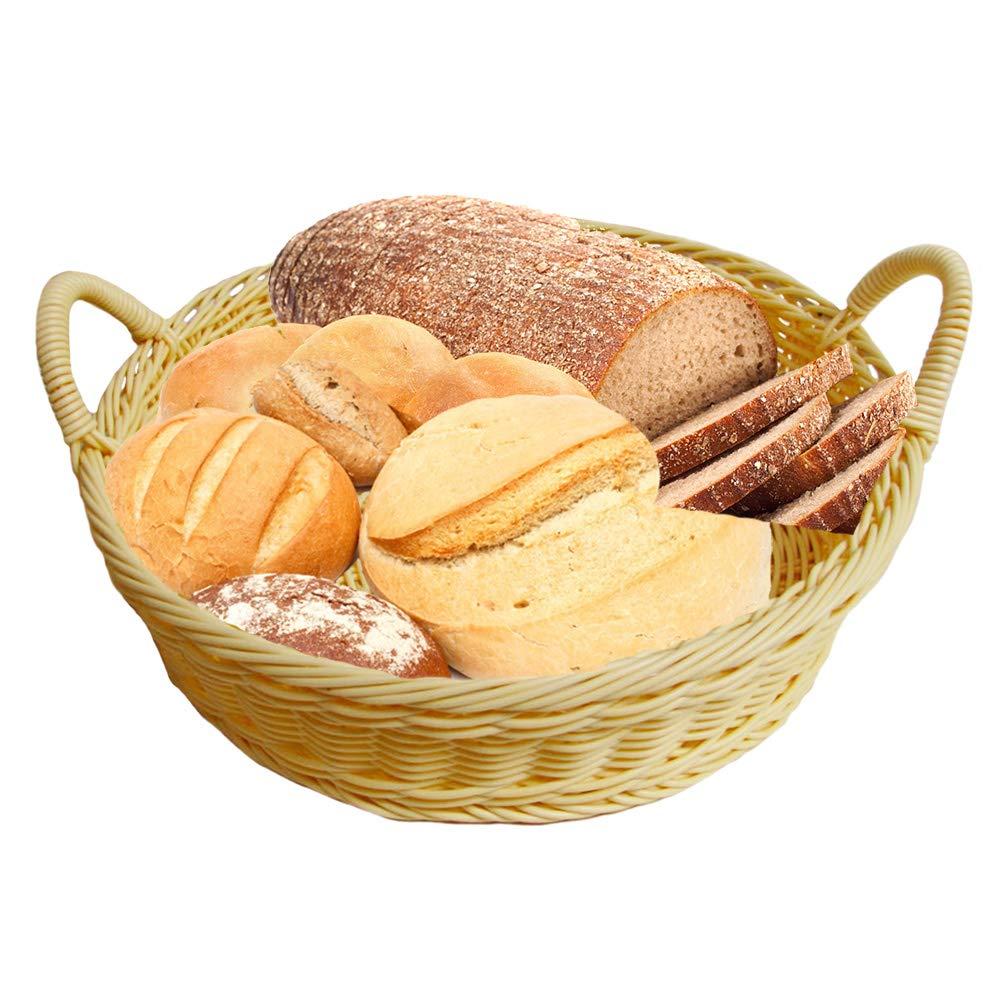 Round Woven Bread Roll Baskets, Practical Beige Round Restaurant Serving Display Baskets with Handles