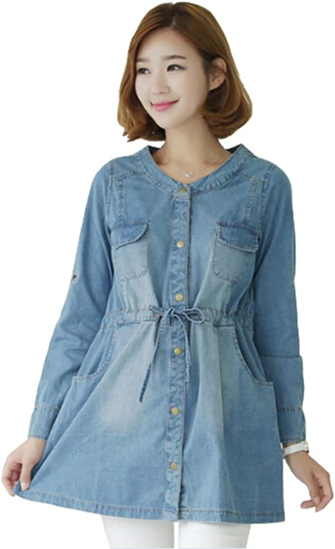 Aimeart Camisa Vaquera Manga Larga Tunica de Premama para Mujeres Embarazadas, (EU)42-(CN)L: Amazon.es: Ropa y accesorios