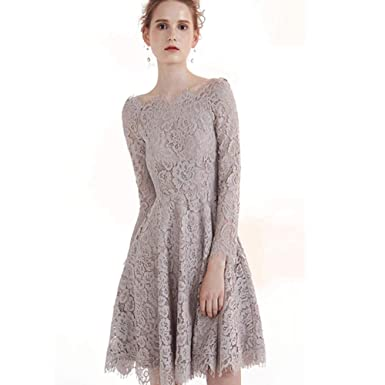 1ea65a1d5a1 CG Women Jewel Neck Short Mini Evening Dress Long Sleeves Lace Cocktail  Party Midi Swing
