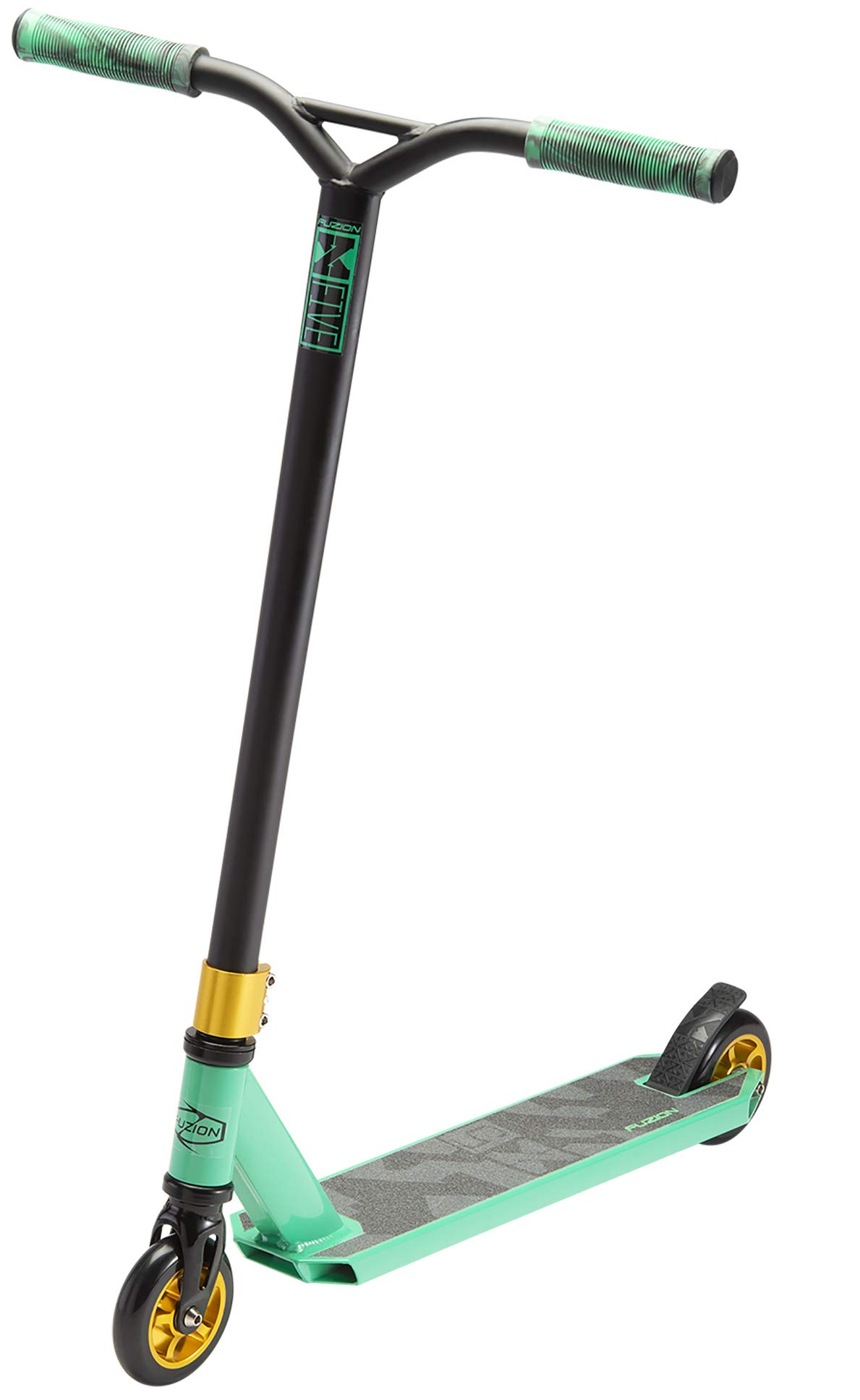 Fuzion X-5 Pro Scooters - Trick Scooter - Beginner Stunt Scooters for Kids 8 Years and Up - Quality Freestyle Kick Scooter for Boys and Girls (Teal/Gold) by Fuzion