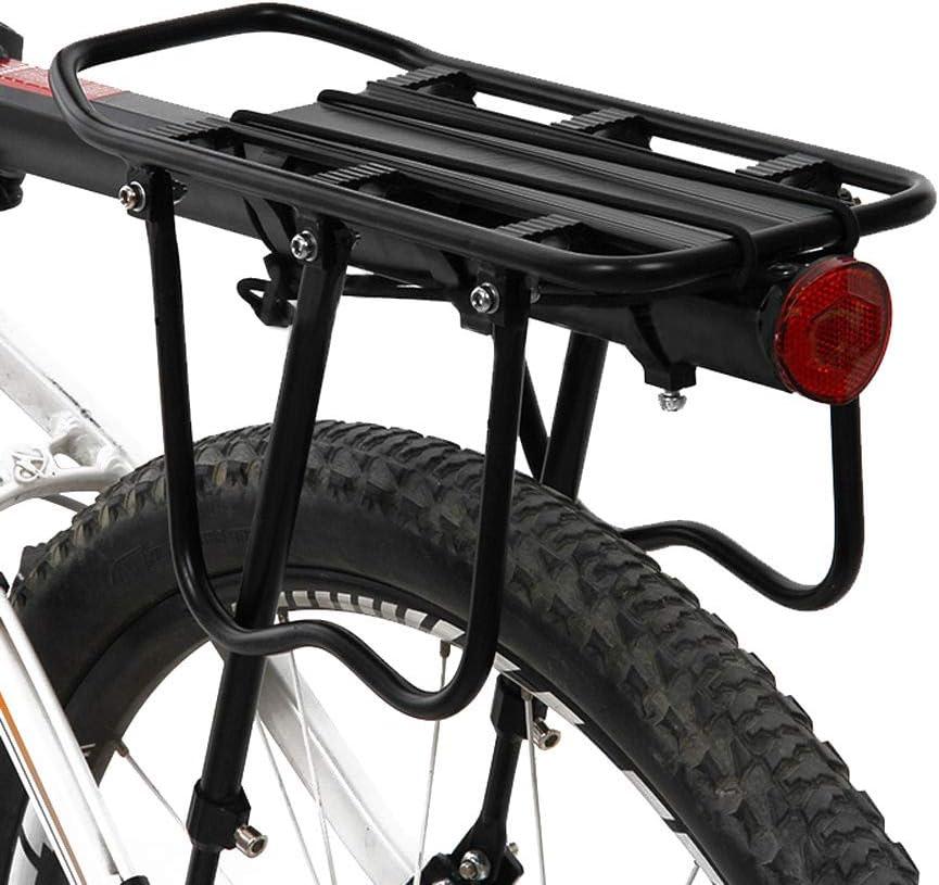 color negro Portabicicletas trasero de aleaci/ón de aluminio para bicicleta con reflector y hebilla de instalaci/ón ajustable capacidad de 50 kg