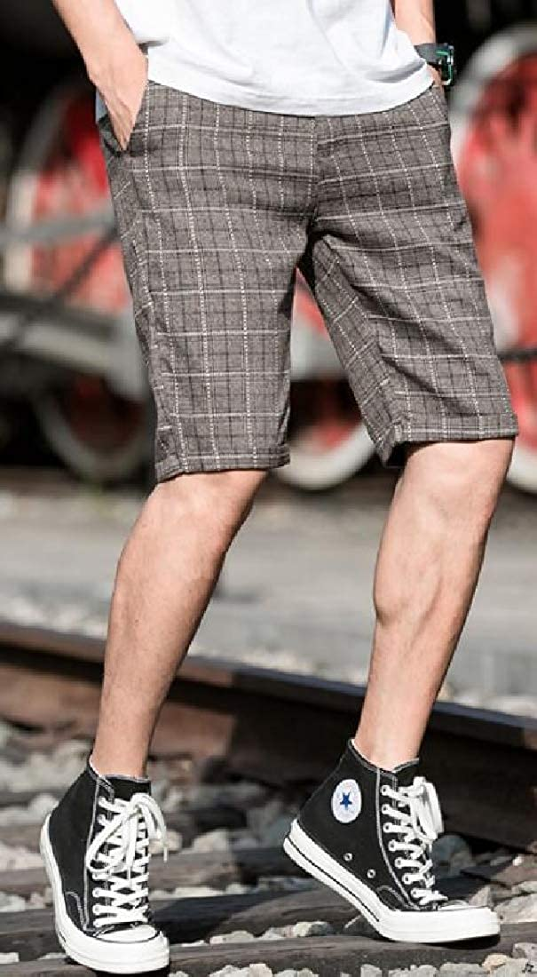 Mstyle Mens Slim Fit Summer Trendy Plaid Business Casual Shorts