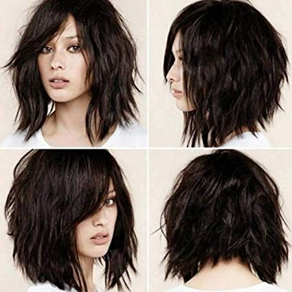 Amazon.com LY7 Short Bob Wavy Wig with Side Bangs Shoulder
