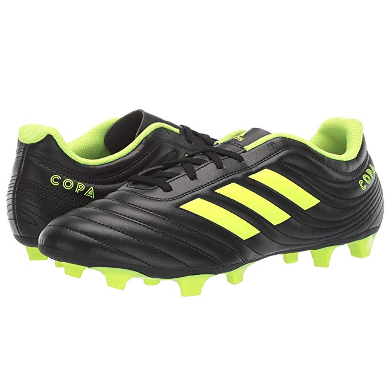 adidas Men's Copa 19.4 Firm Ground, Black/Silver Metallic/Solar Yellow, 8 M US by adidas
