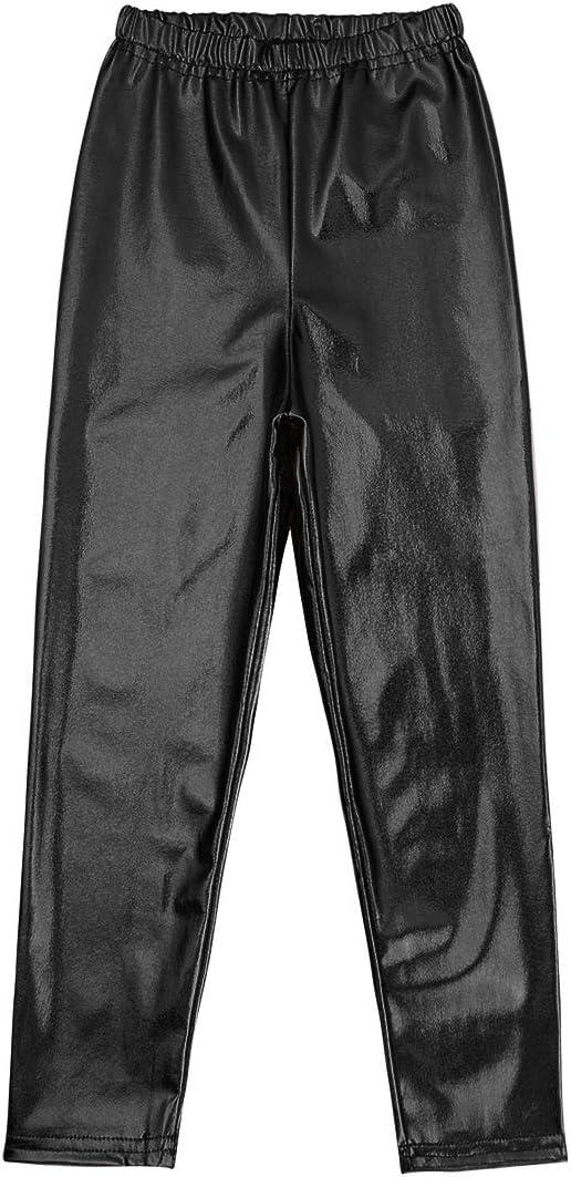 iEFiEL Kids Girls Shiny Metallic Leggings Wet Look Stretchy High Waist Sports Dance Tights Pants Full Length Trousers