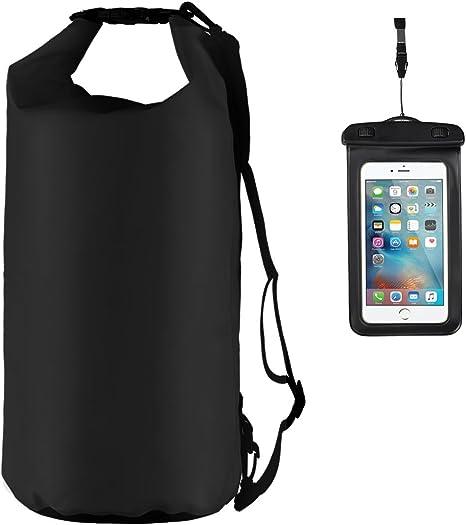 Youngdo 20L Bolsa Estanca Impermeable Mochila Estanca Funda Universal para Smartphone para Actividades al Aire Libre y Deportes Acuáticos 2 Pack 500D Negro: Amazon.es: Deportes y aire libre