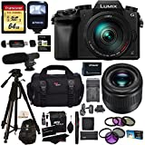 Panasonic G7HK 4K Digital Single Lens Mirrorless Camera 14-140mm Lens Kit, Panasonic H-H025K LUMIX G 25mm/F1.7 Lens, Transcend 64GB, Polaroid 72 Tripod, Flash, Microphone, Filter & Accessory Bundle
