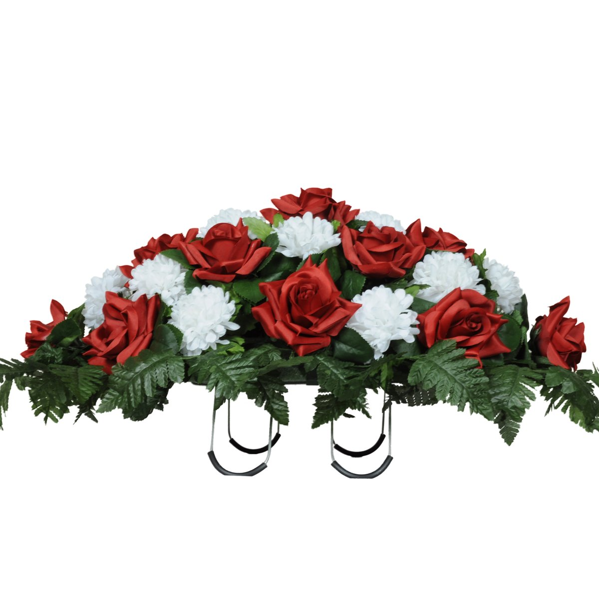 Amazon Red Roses And White Carnations Silk Saddle Arrangement