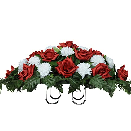 Amazon red roses and white carnations silk saddle arrangement red roses and white carnations silk saddle arrangement by sympathy silks sd8008 mightylinksfo