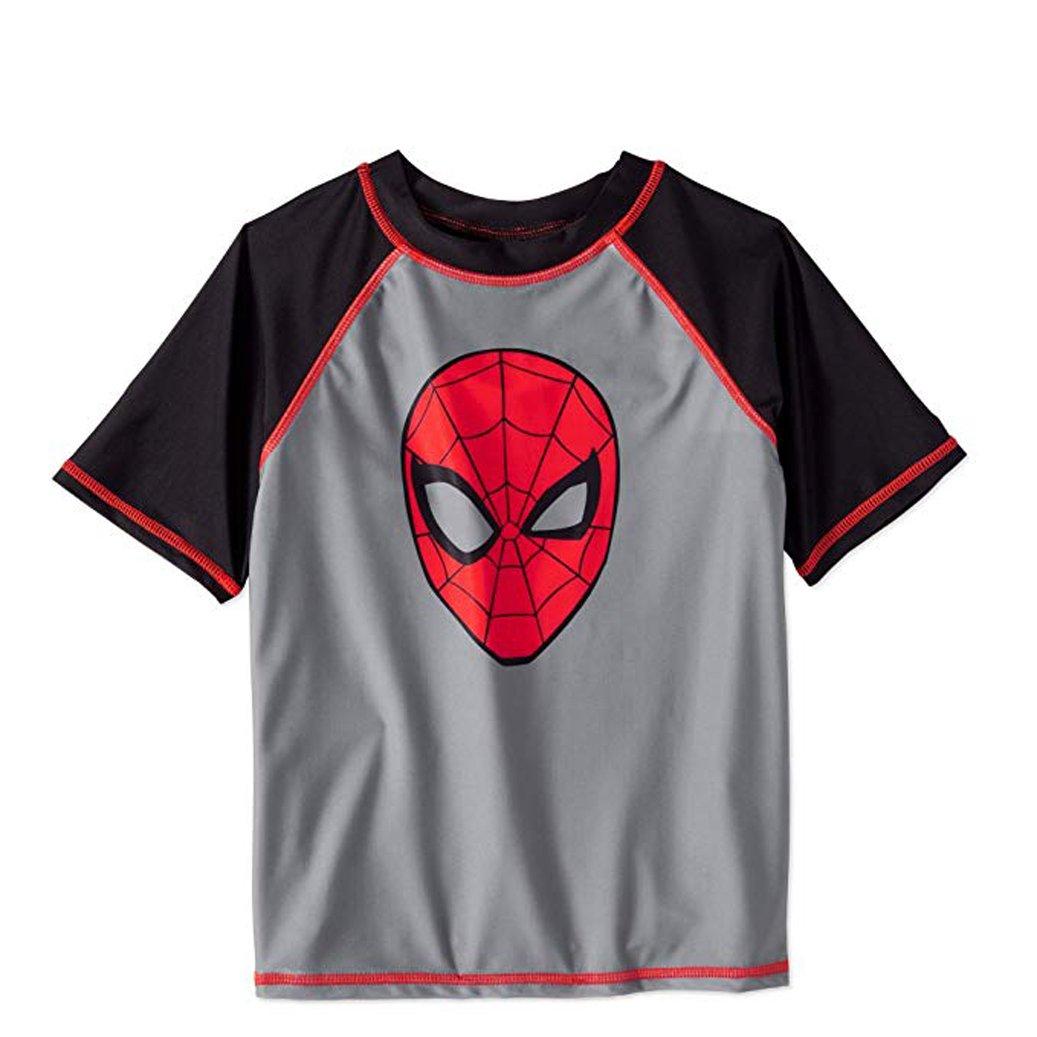 Bealls Marvel Spiderman Face Me Little Boys Raglan Rashguard Grey With UPF 50 Sun Protection