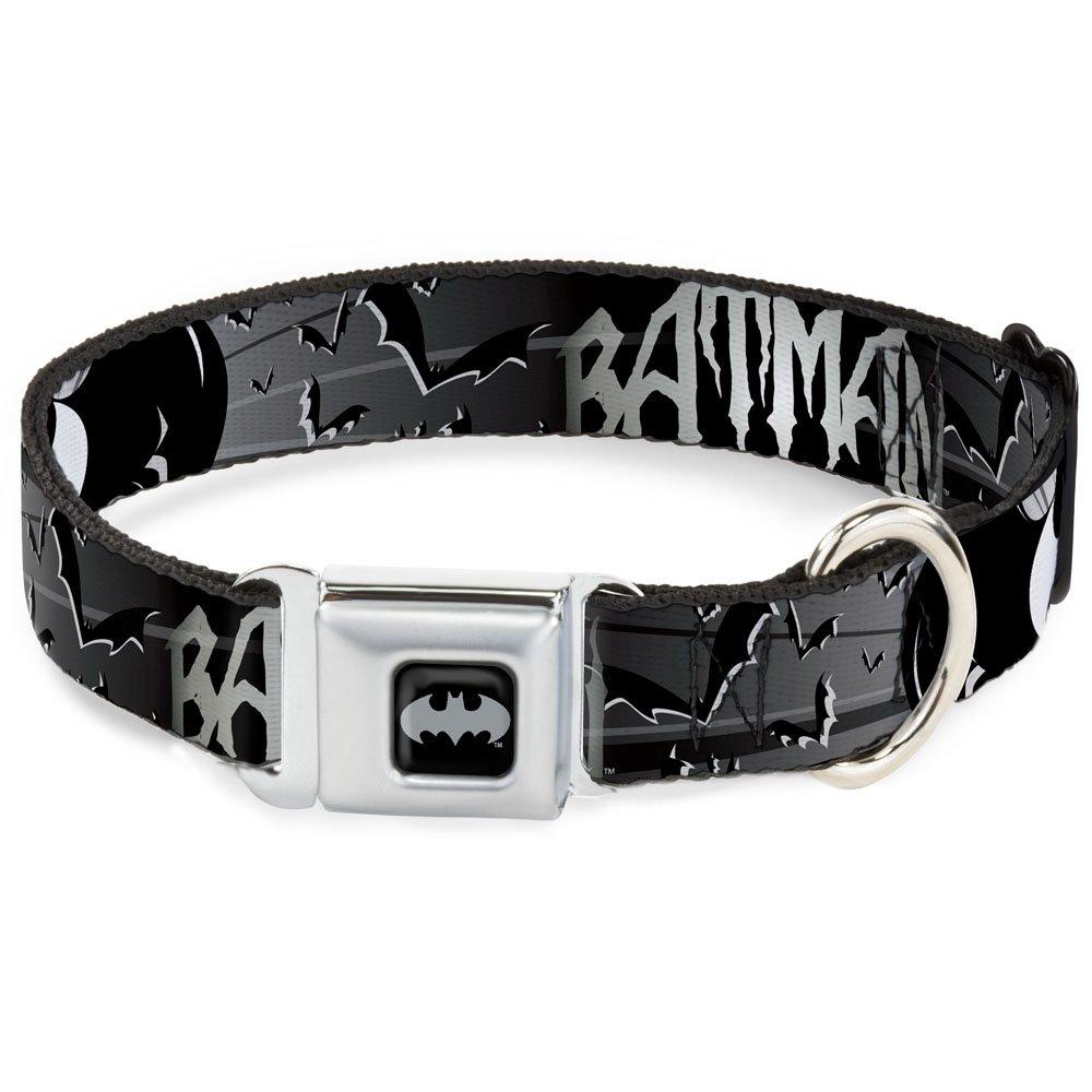 1\ Buckle-Down Seatbelt Buckle Dog Collar Batman w Bat Signals & Flying Bats Black White 1  Wide Fits 9-15  Neck Small
