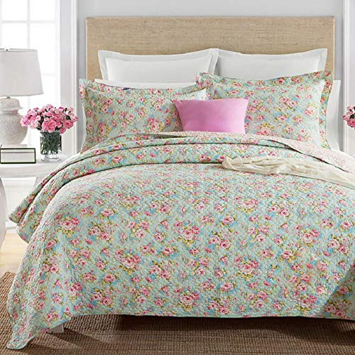 Brandream Queen Size Girls Bedding Comforter Sets Romantic Bedspreads Green Floral Bed Quilt Set Cotton